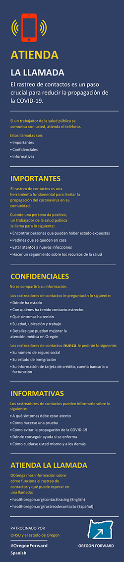 "A preview image of a Spanish language infographic titled ""Answer the Call."""