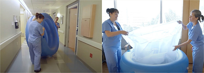 Two side-by-side photos of two female OHSU clinical staff setting up a water birth tub.