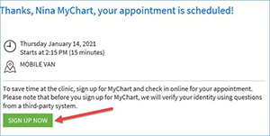 Successful MyChart registration confirmation