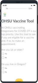 Iphone displaying the COVID-19 vaccination screener tool