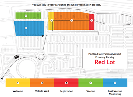 Overhead map of the red lot economy parking area at the Portland Airport (PDX).