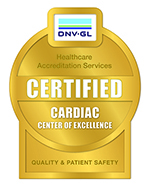 "A graphic of a badge that reads ""Healthcare Accreditation Services,"" ""Certified Cardiac Center of Excellence,"" ""Quality & Patient Safety."""
