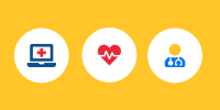 icons of medical related images on yellow background
