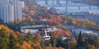 Aerial view of downtown Portland with tram